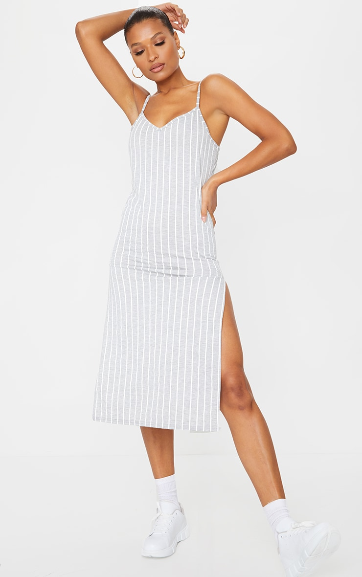 Grey Stripe Jersey Split Cami Midi Dress 3