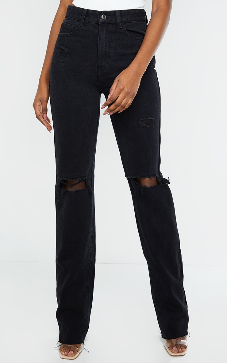 PRETTYLITTLETHING Tall Black Distressed Long Leg Straight Jeans 2