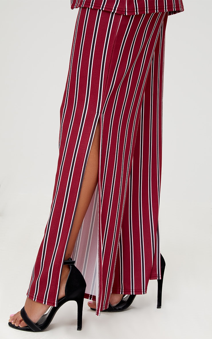 Petite Burgundy Stripe Flared Suit Trousers 5