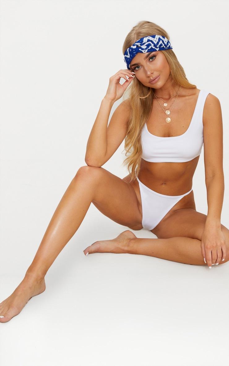 White  Mix & Match Square Neck Cropped Bikini Top  4