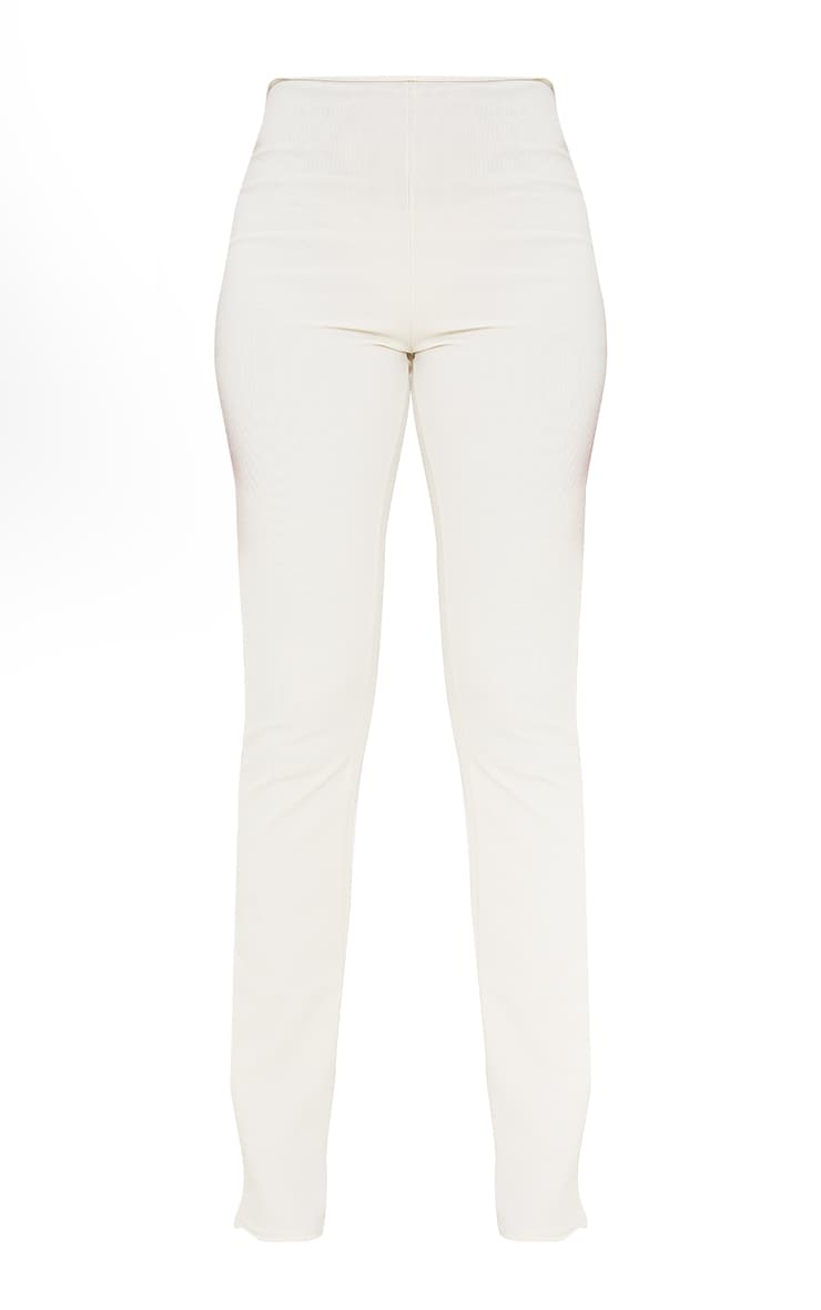 Cream Textured Rib Cut Out Bum Detail Skinny Flares 5