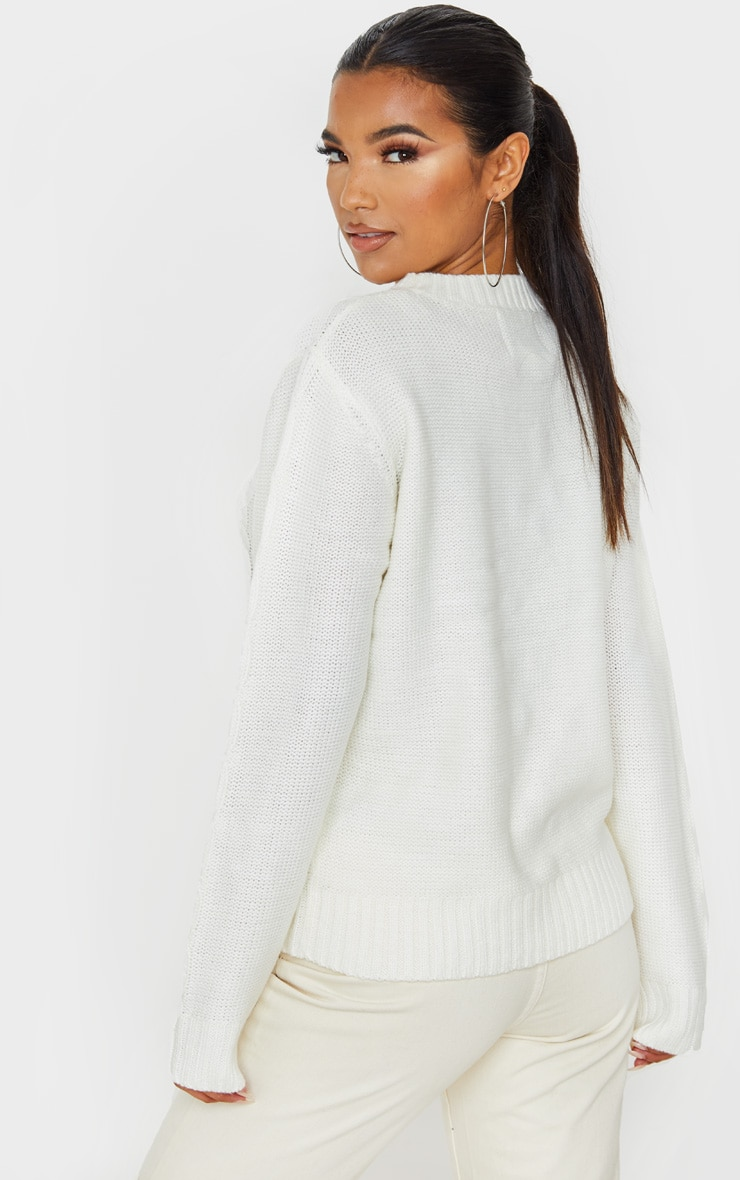 Cream Pom Pom Detail Cable Knitted Jumper 2