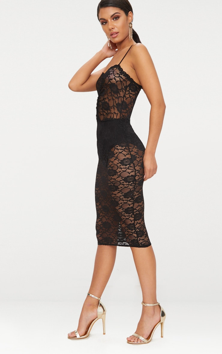 Black Lace Ruched Midi Dress 4