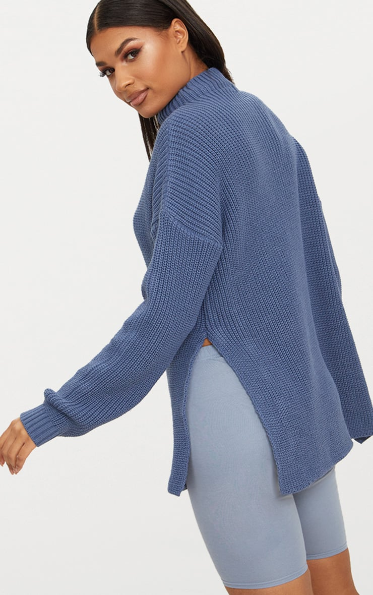 Charcoal Blue High Neck Oversized Jumper 2