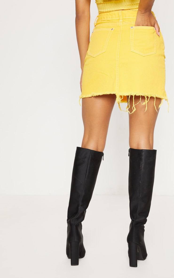 Yellow Contrast Stitch Denim Skirt 4