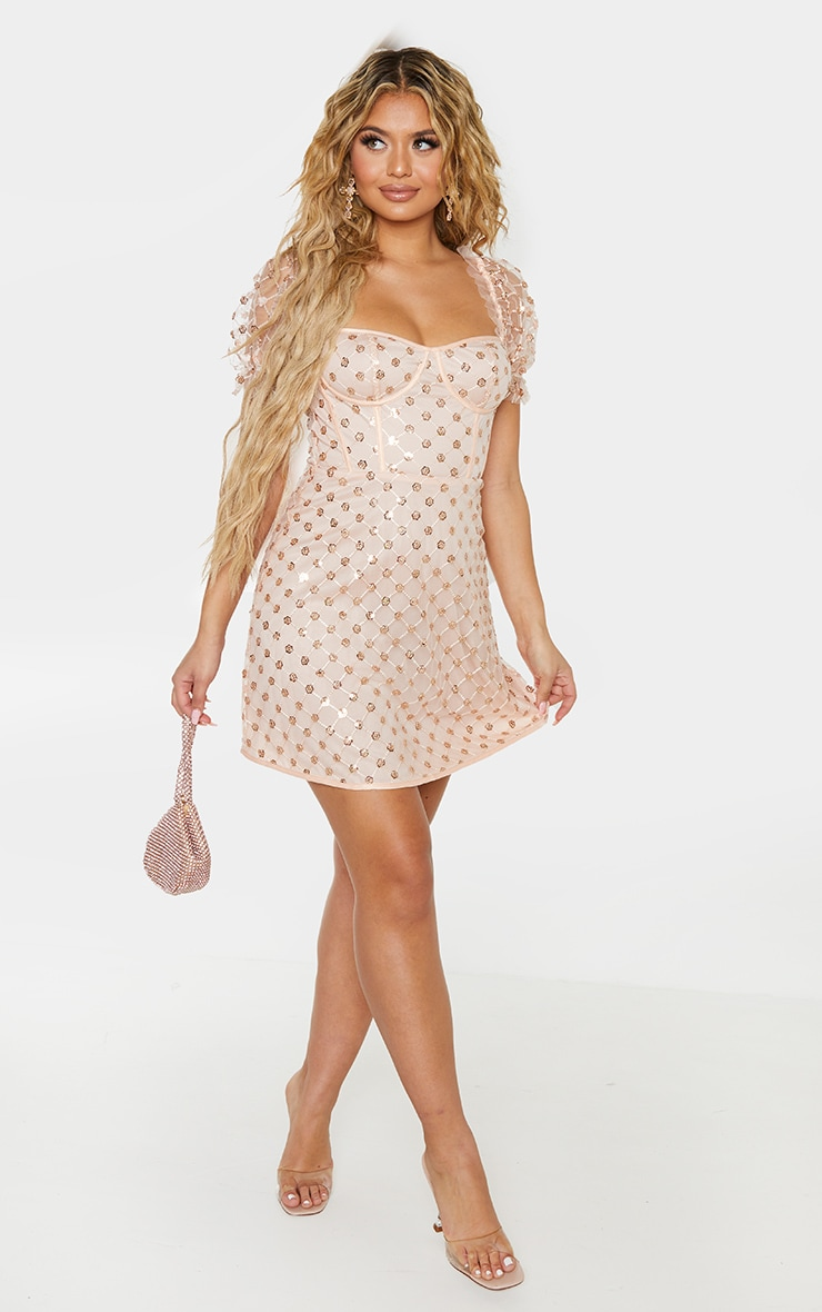 Rose Gold Sequin Detail Puff Sleeve Cup Detail Shift Dress 4