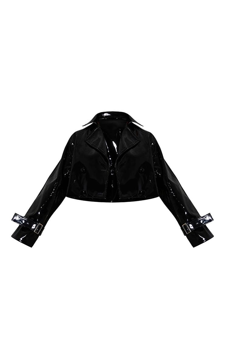 Black Vinyl Belted Sleeve Cropped Jacket 5