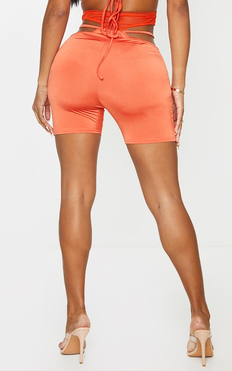 Shape Orange Mesh Insert Cut Out Side Cycling Shorts 4