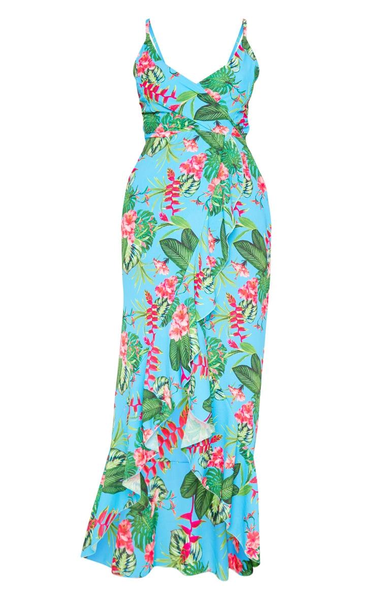 Robe longue turquoise volantée en crêpe à imprimé tropical 3