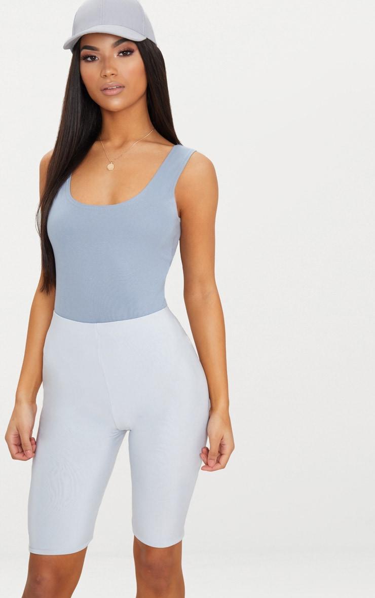 Body-string en coton stretch bleu gris à décolleté arrondi 1