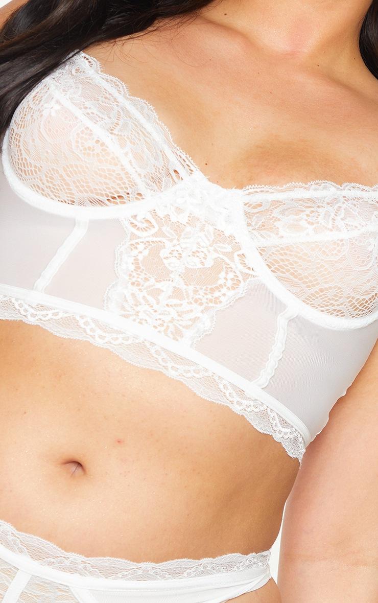 Plus White Lace Underwired Longline Bra 4