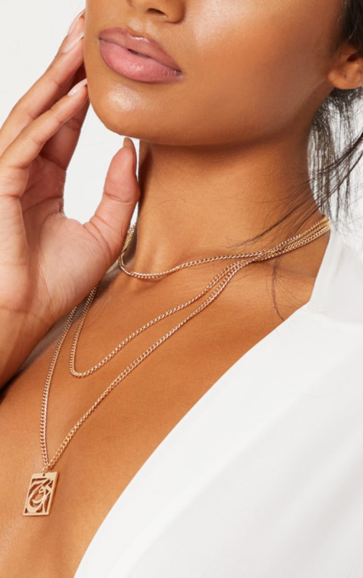 Gold Script Soul Layered Necklace 1