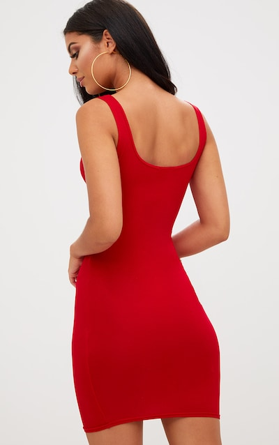 Basic Red Square Neck Bodycon Dress
