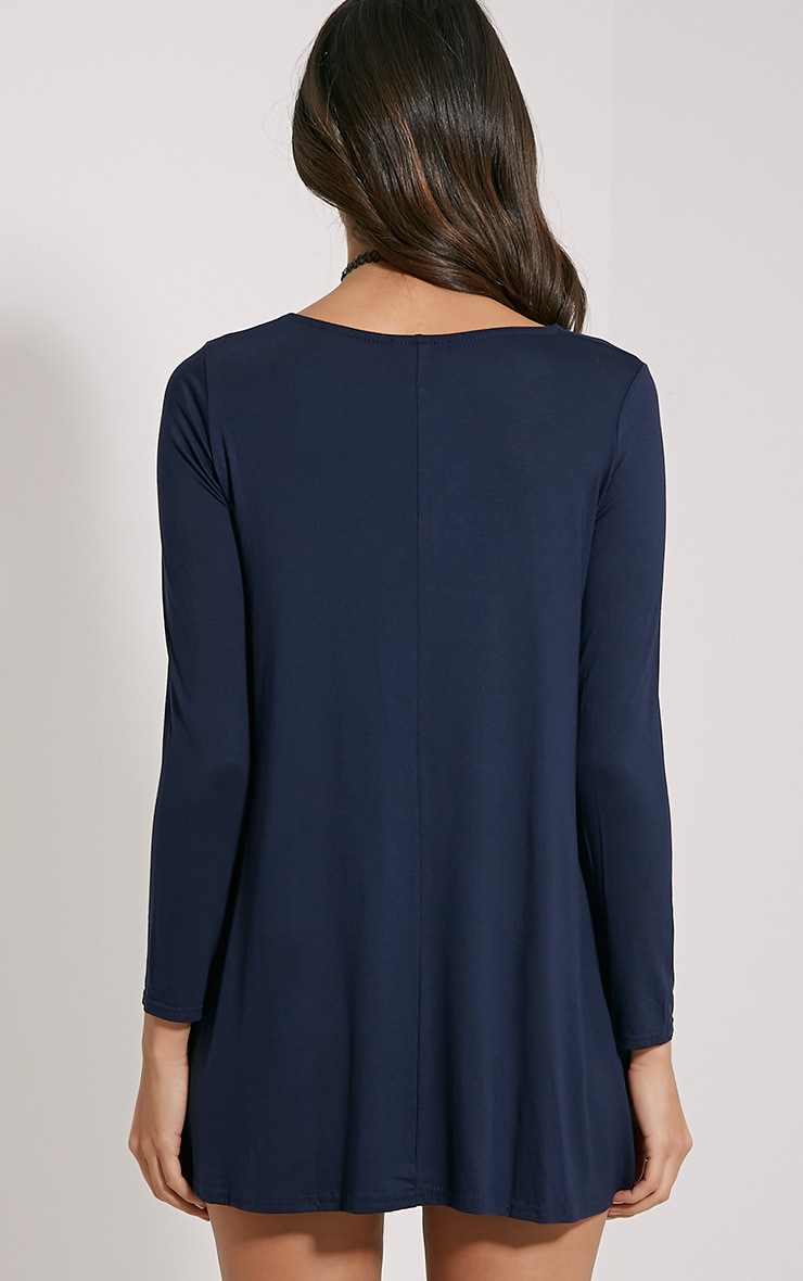 Basic Navy Long Sleeve Swing Dress 2