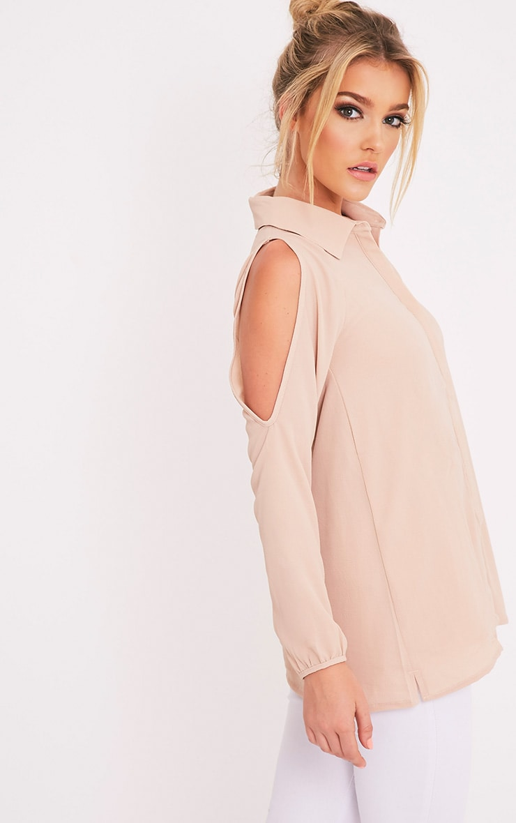 Lorisa Stone Cold Shoulder Floaty Blouse 4