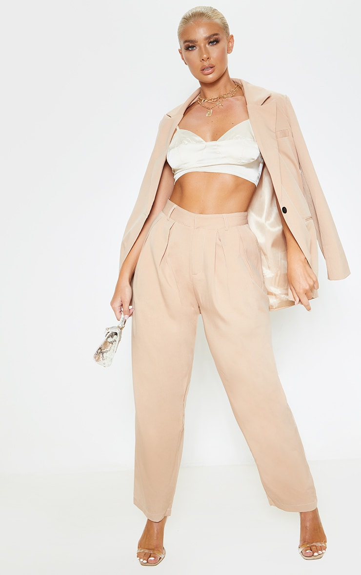 Camel Woven High Waisted Cigarette Pants  1