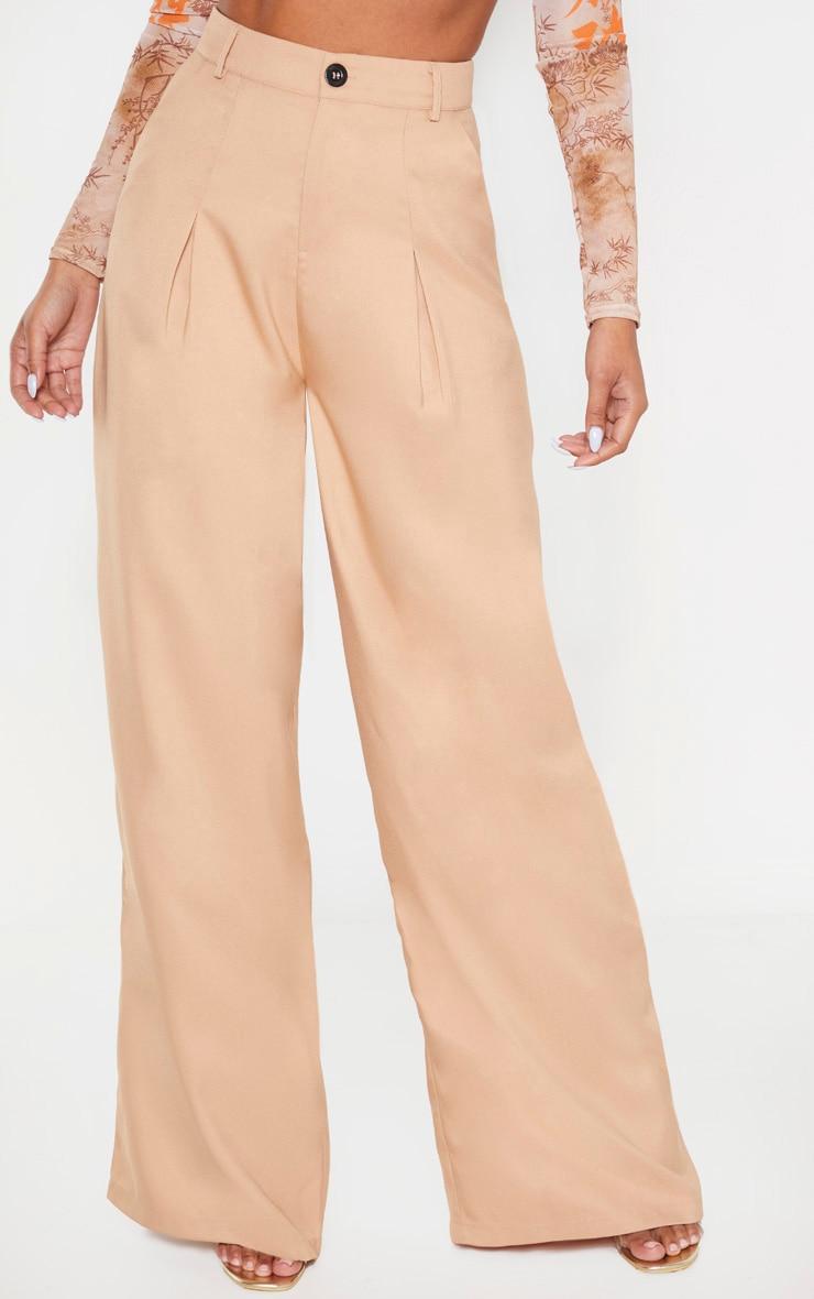Camel Wide Leg Woven Pleat Trouser 2