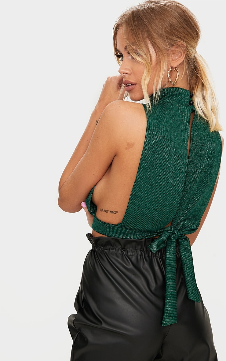 Emerald Green High Neck Open Back Crop Top  2