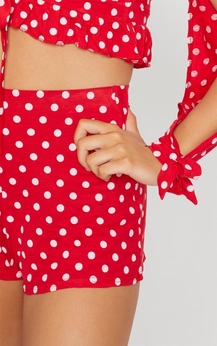 Red Polkadot Jersey Floaty Shorts 5