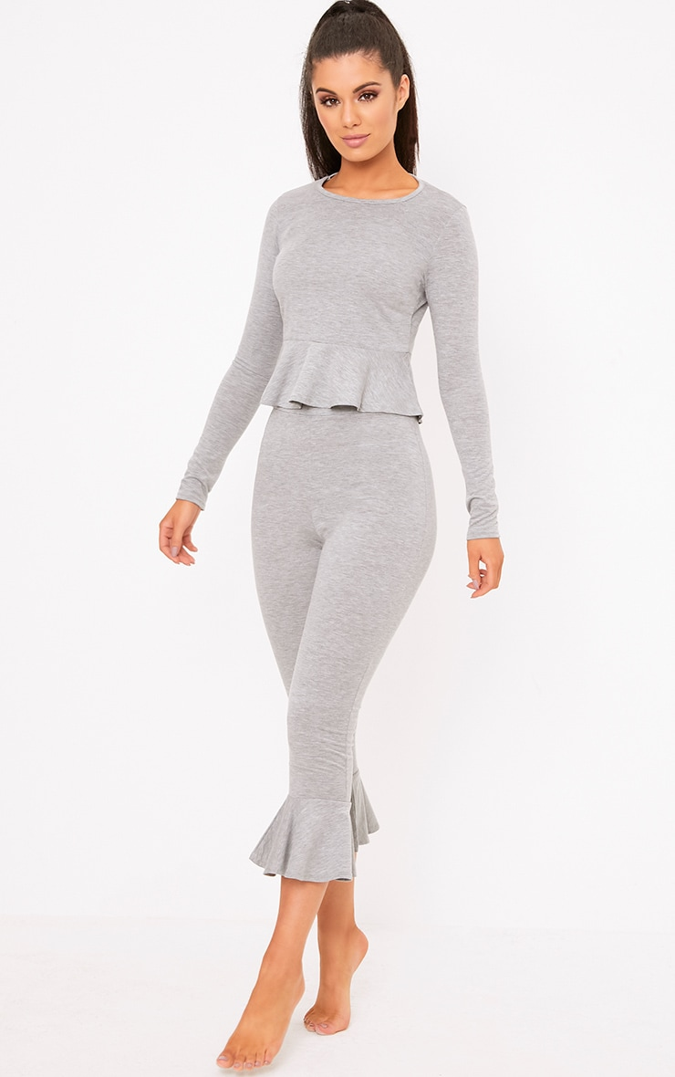 Grey Frill Detail Cropped PJ Set