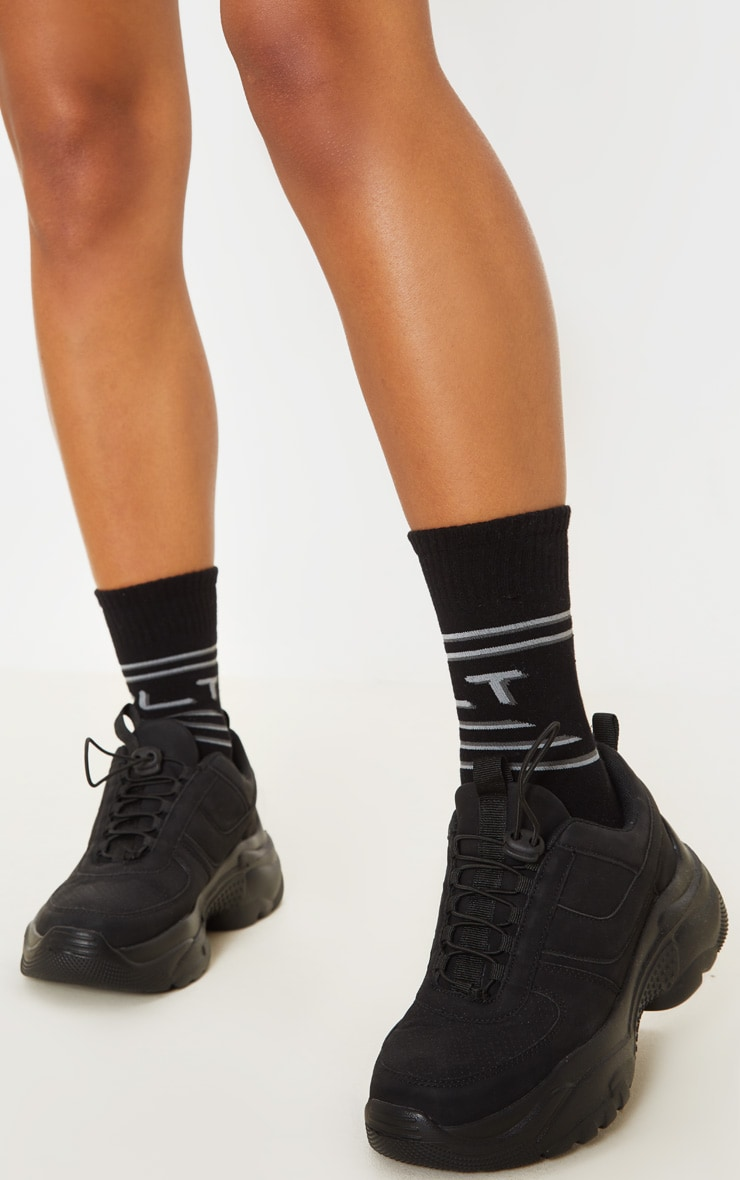 PRETTYLITTLETHING Black And Grey Socks 2