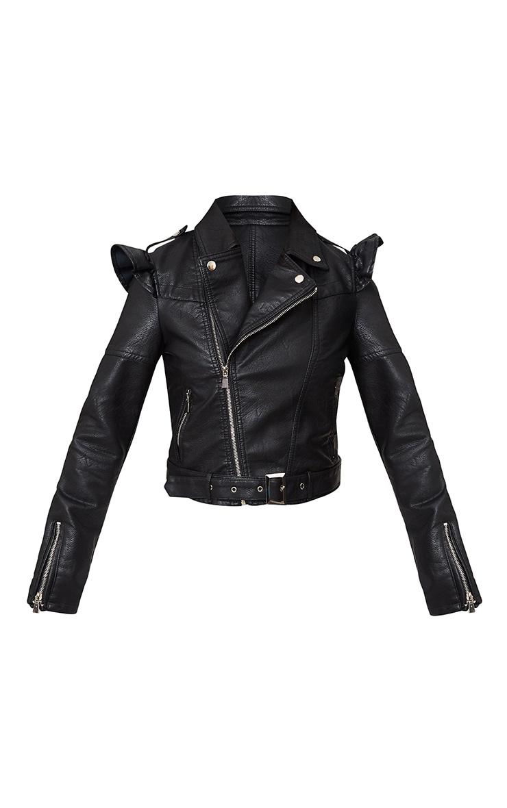 Black Frill Shoulder PU Biker Jacket 3
