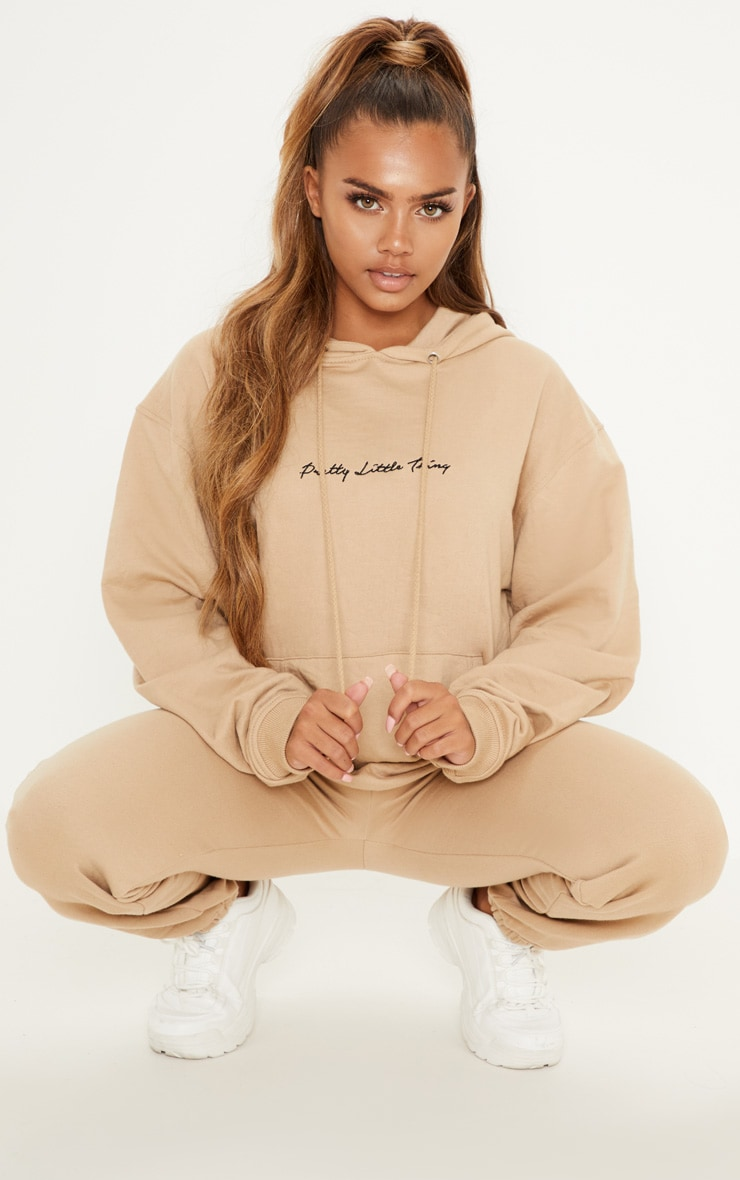 PRETTYLITTLETHING Sand Embroidered Oversized Hoodie 4