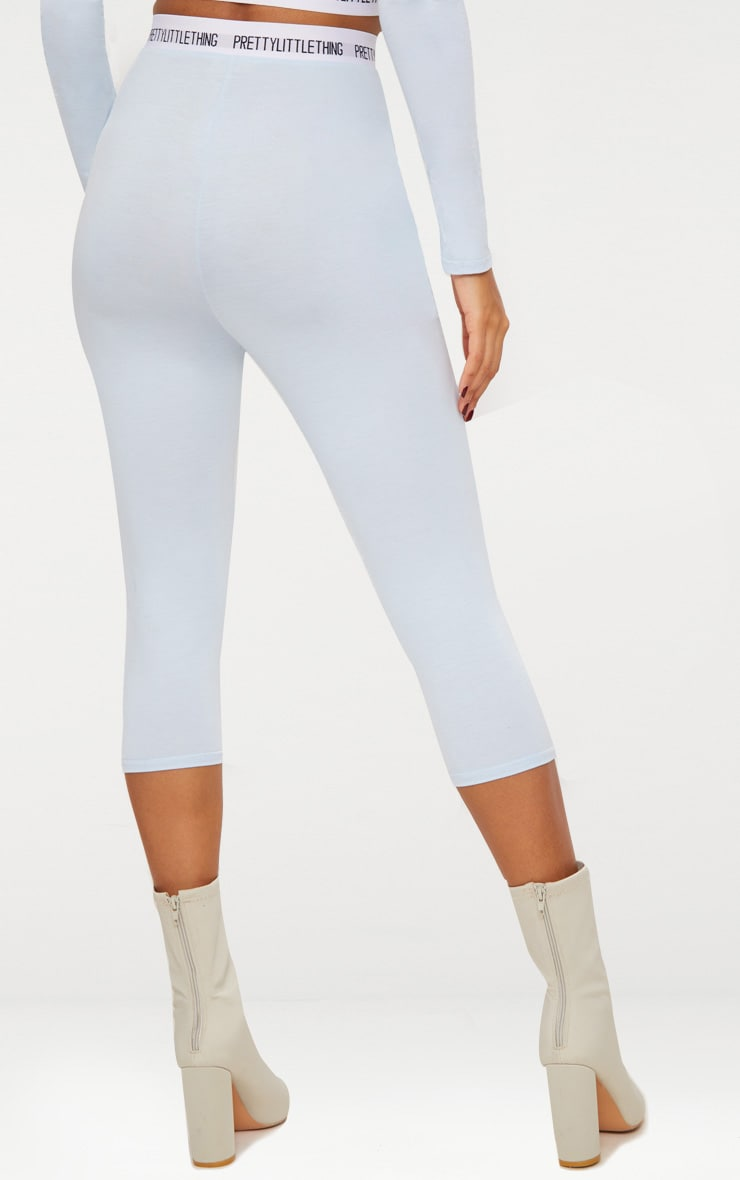 PRETTYLITTLETHING Baby Blue Jersey Cropped Leggings 5