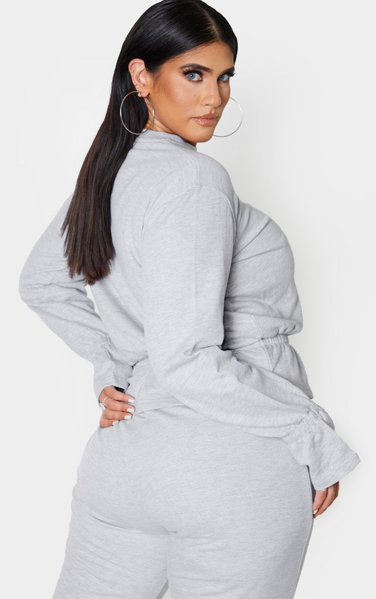 Plus Grey Sweat Elasticated Hem Jumper 2