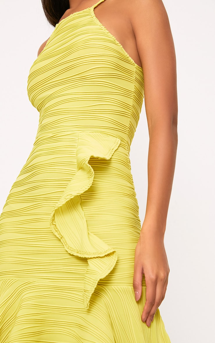 Lime Pleated Ruffle Detail Bodycon Dress 5