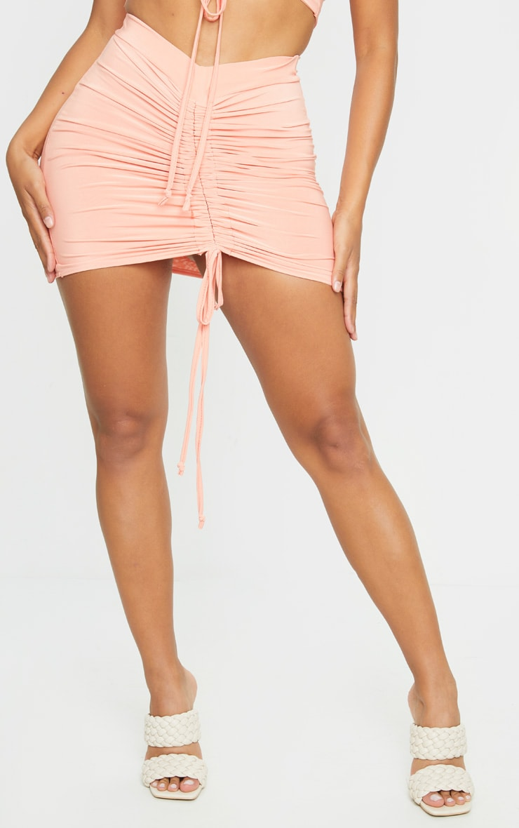 Shape Peach Slinky Ruched Front Bodycon Skirt 2