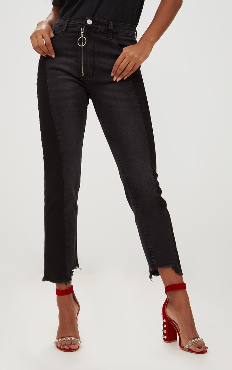 Black Ring Pull Slim Leg Jean 2
