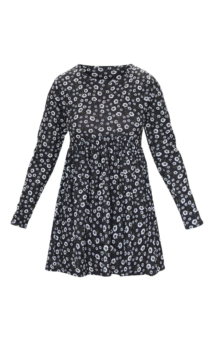 Petite Black Ditsy Floral Long Sleeve Smock Dress 5