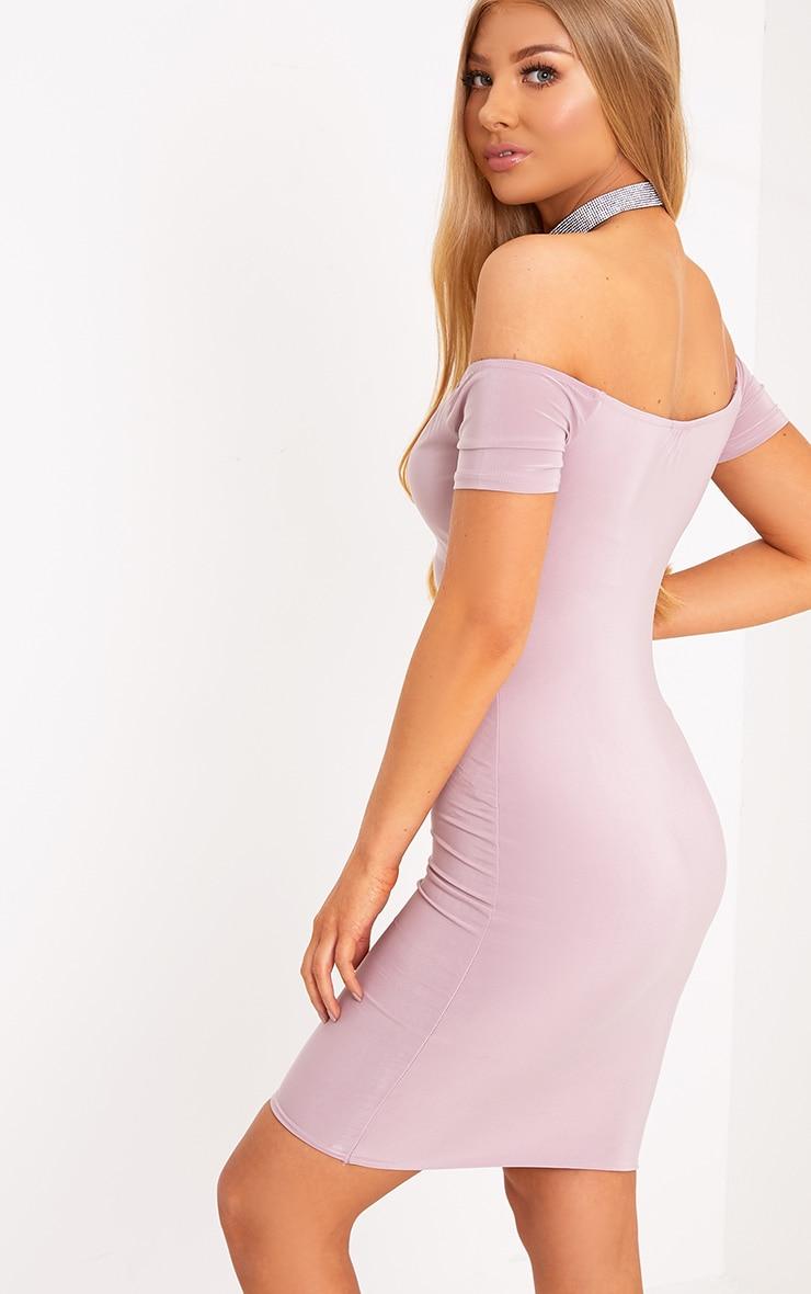 Fae Lilac Lace Up Cap Sleeve Bardot Bodycon Dress 2