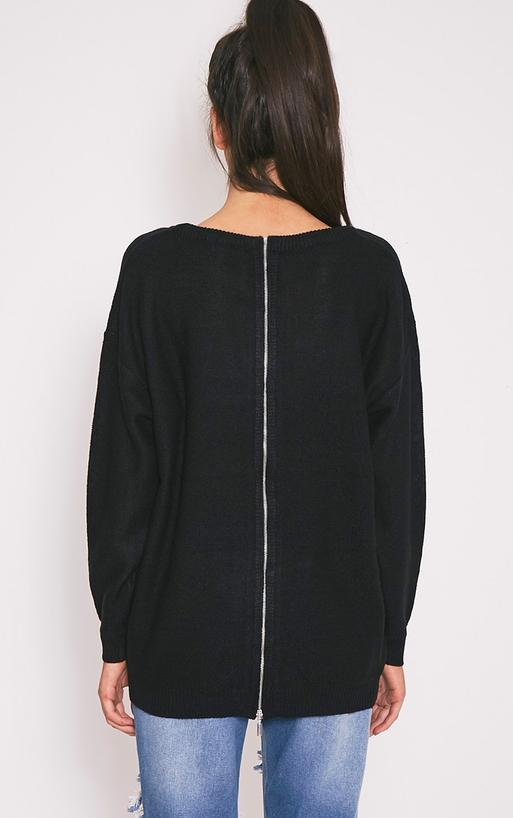 Trisha Black Zip Back Knitted Jumper 2