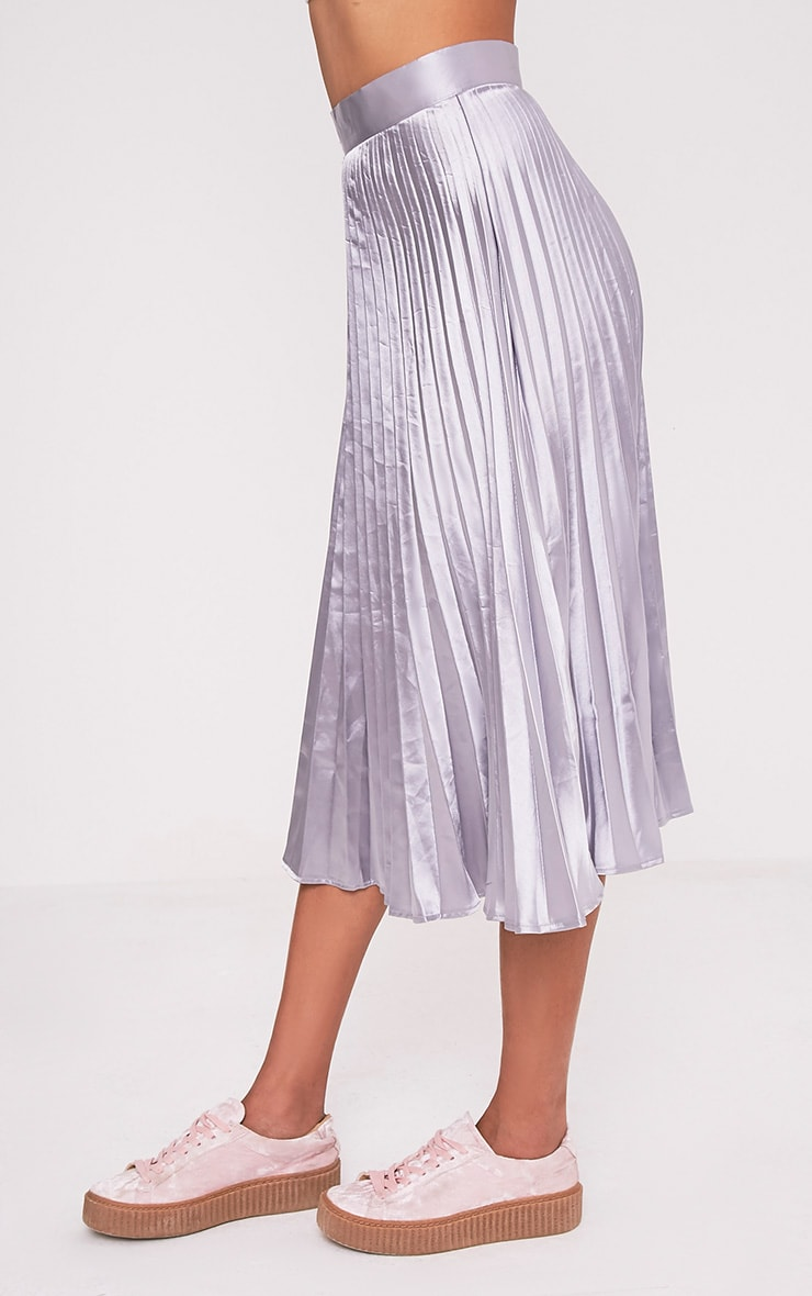 Harmonia Grey Satin Pleated Midi Skirt 4