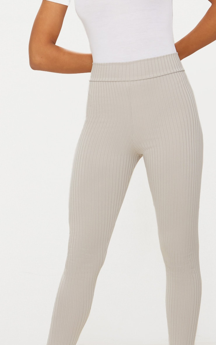 Harlie Grey Ribbed High Waisted Leggings 5