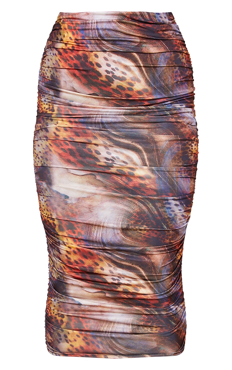 Mix Leopard Slinky Ruched Midi Skirt 5