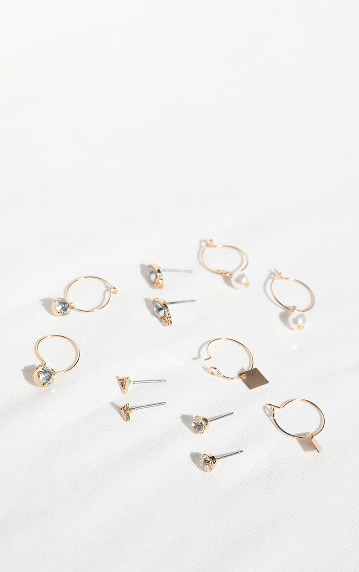 Gold Assorted Multi Pack Hoop And Stud Earrings 1