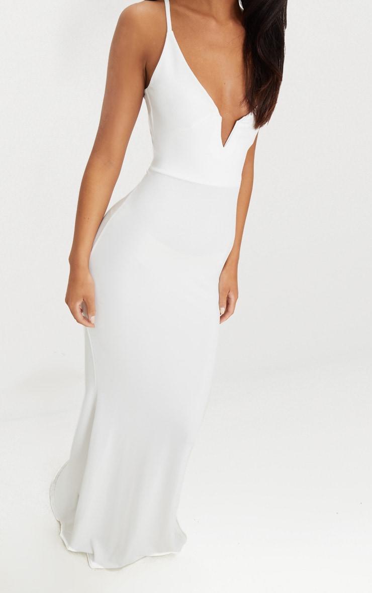 White V Bar Backless Maxi Dress 4