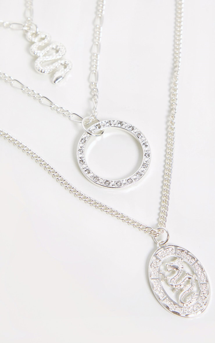 Silver Snake Charm Layering Chain Necklace 4