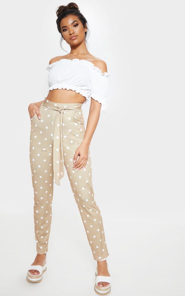 Taupe Polka Dot Print Tie Waist Cigarette Trouser 1