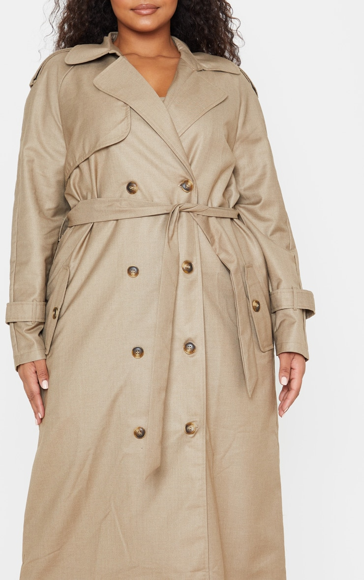 Plus Stone Woven Oversized Trench Coat 5