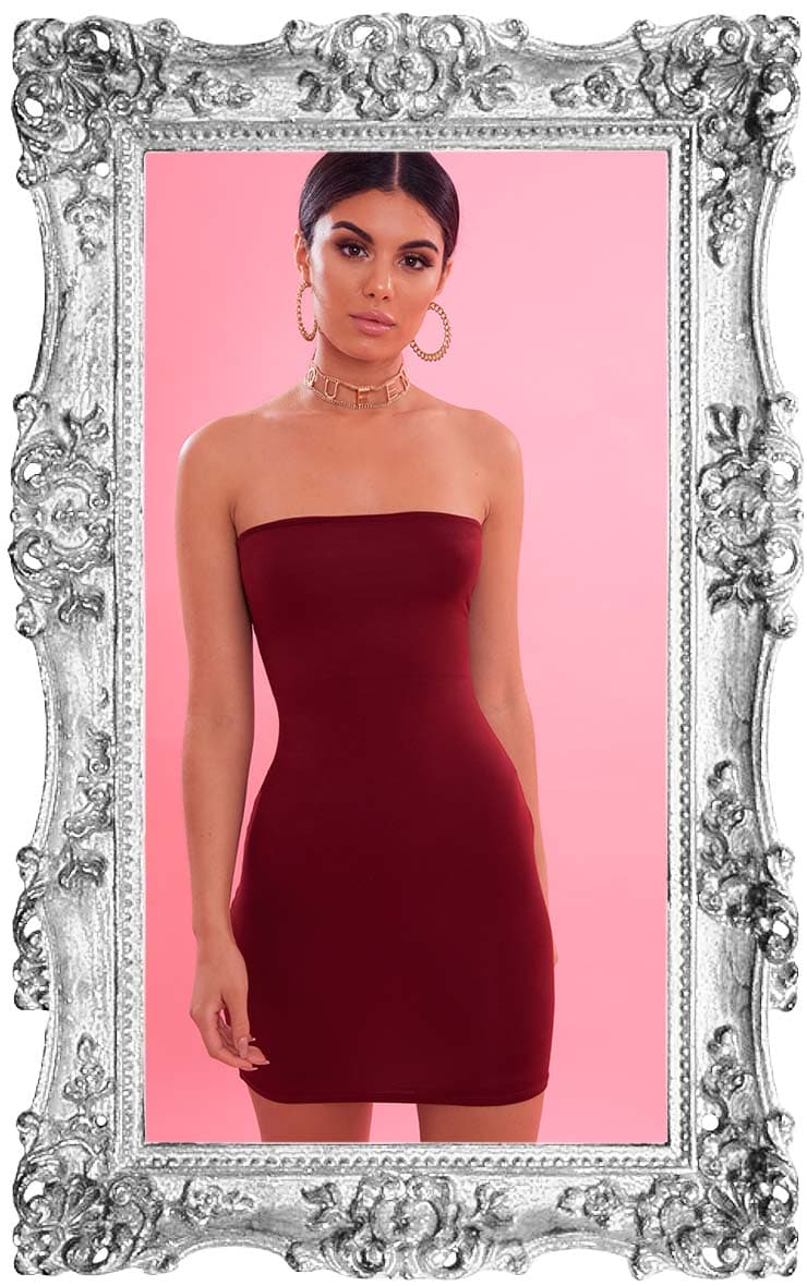 Hot Pink Strapless Bodycon Dress