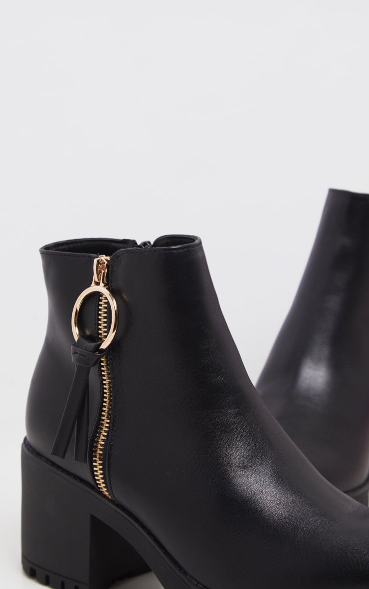 Black Side Zip Chunky Boot 5