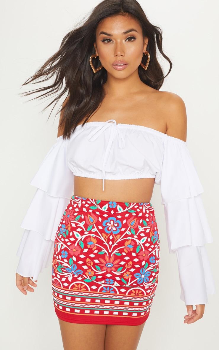 Red Puff Print Mini Skirt 1