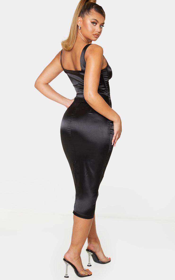 Black Satin Cup Detail Sleeveless Midi Dress 2