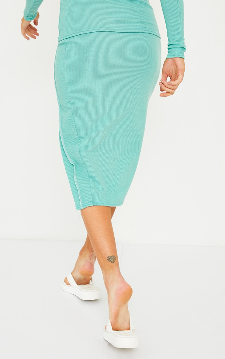 Maternity Green Crinkle Rib Seam Detail Midi Skirt 3