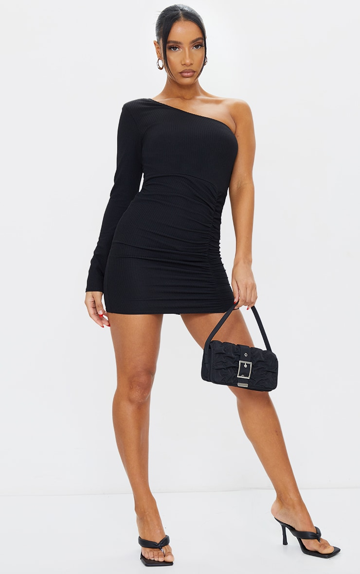 Black Ribbed One Shoulder Ruched Bodycon Dress 1
