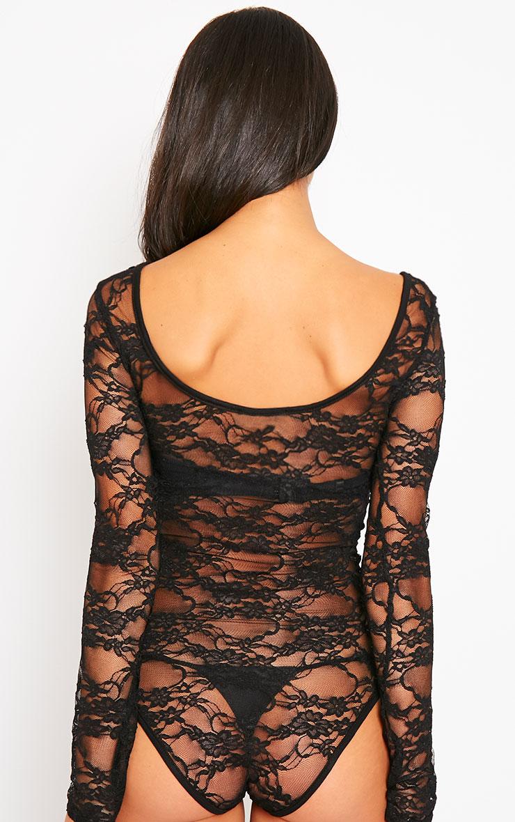 Elsie Black Lace Bodysuit  5